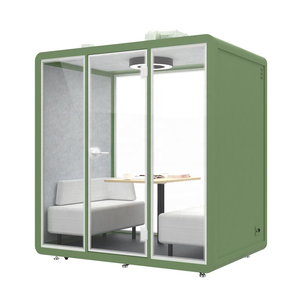 The secondary sound insulation soundproof-cabin container office for four person movable office with 6.38 CBM