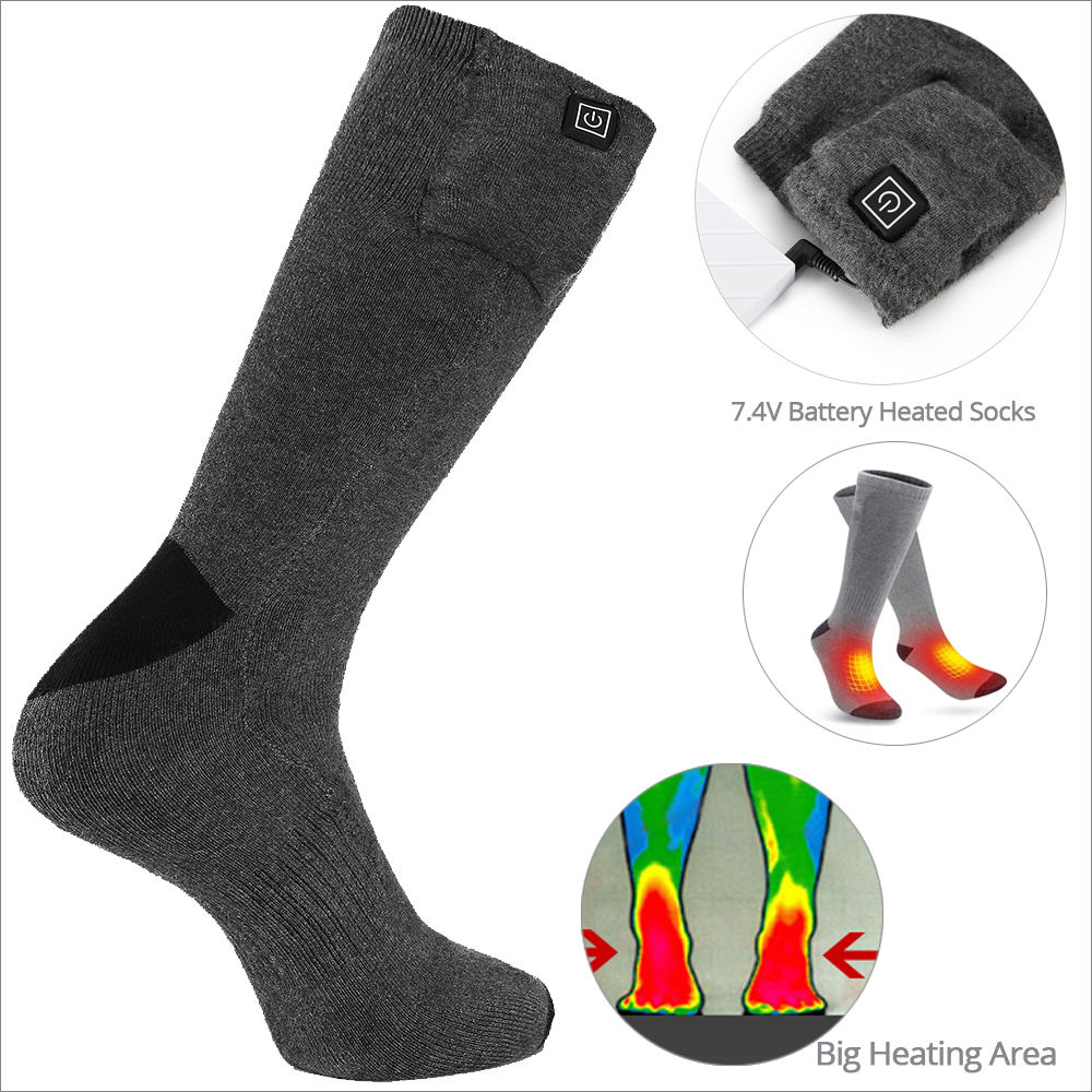 3.7V 5V 7.4V Rechargeable Battery Winter Skiing Foot Warmer Electric Heated Socks for Hunting
