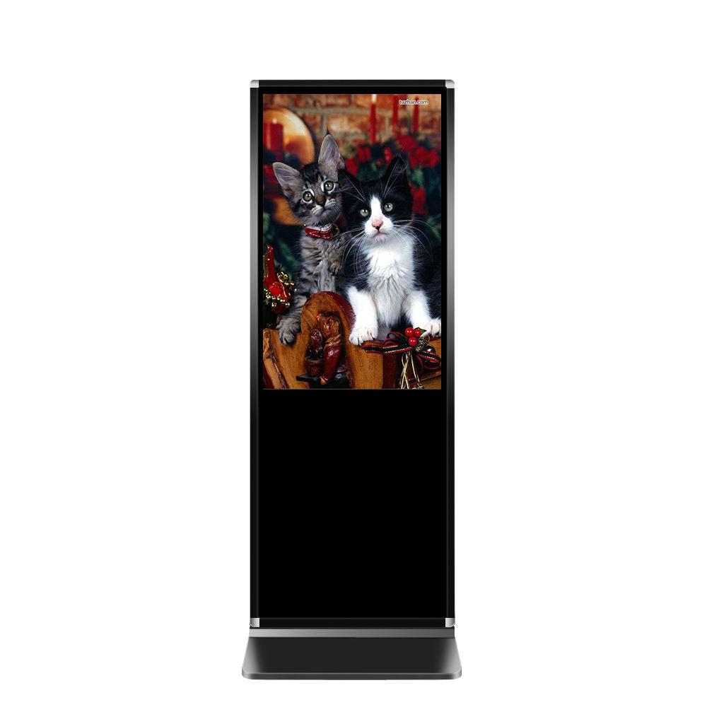 Full hd coperta oro floor stand media player 84 pollici di vetro verticale digital signage display a cristalli liquidi di pubblicità display