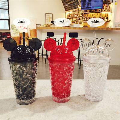 450ml plastic gel cup, double wall cute water bottle, ice cooling Mickey Mouse ears bottle