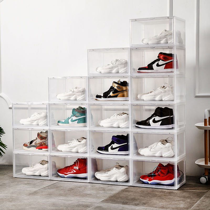 Transparent Basketball Shoes Collection Display Cabinet Pull Down Door Clear Shoe Box Plastic Stackable Sneaker Boxes For Men