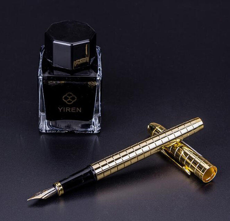 F001 high quality gold Silver deluxe heavy metal pen Lattice Carving Design fountain pen