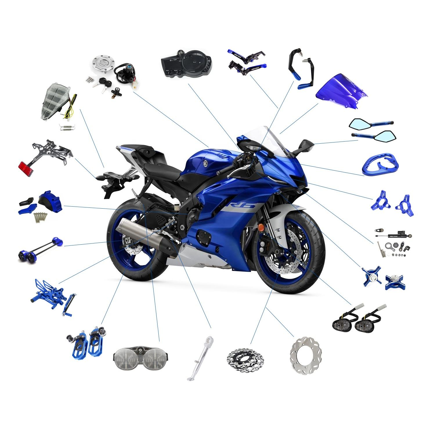 Realzion Customize Racing Motorcycle Accessories Dirtbike Chinese Wholesale Motorbike Body Systems Parts Spare Parts For YAMAHA