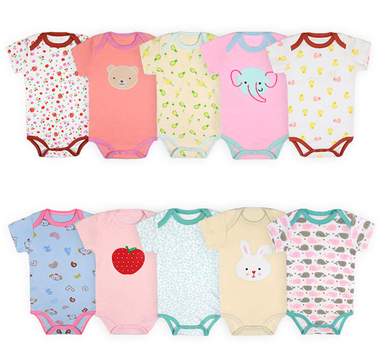 Wholesale Newborn Baby Clothes Short Sleeves Baby Cotton Romper /baby bodysuit