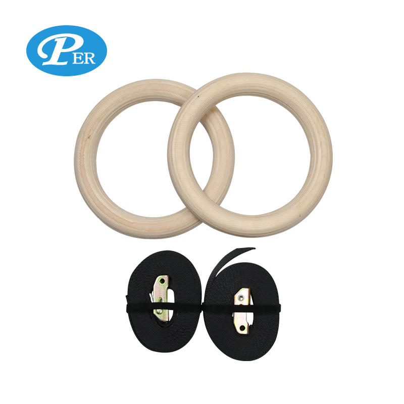 Gym Equipment gymnastic ring custom LOGO gymnastic rings wooden with Adjustable Straps
