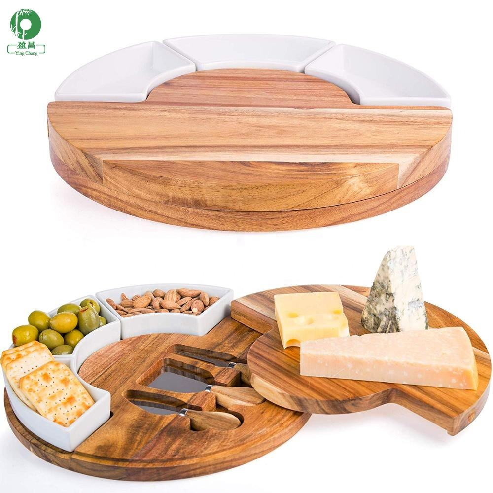 Round rotatable cheese plate - with cutter/cup Multi-functional cutting board/cheese board High quality bamboo