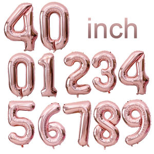 Hot selling foil number 40inches good quality Factory copper Number Shaped Helium Balloon/Number foil ballons