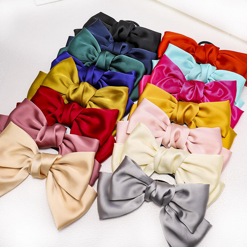 Korean Style Bow Hair Clips Hair Bows Accessories Satin Butterfly Hair Accessories Women