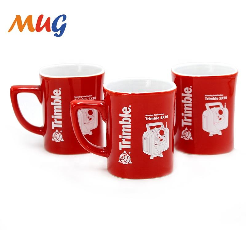 sedex 4P wholesale factory price promotional square ceramic low temperature red glazed coffee mug printed ceramic mug