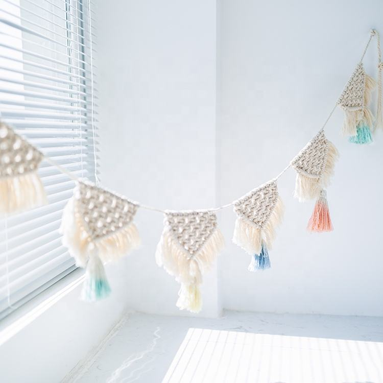 High quality colorful handmade cotton rope woven room baby room decoration macrame wall hanging baby room decor