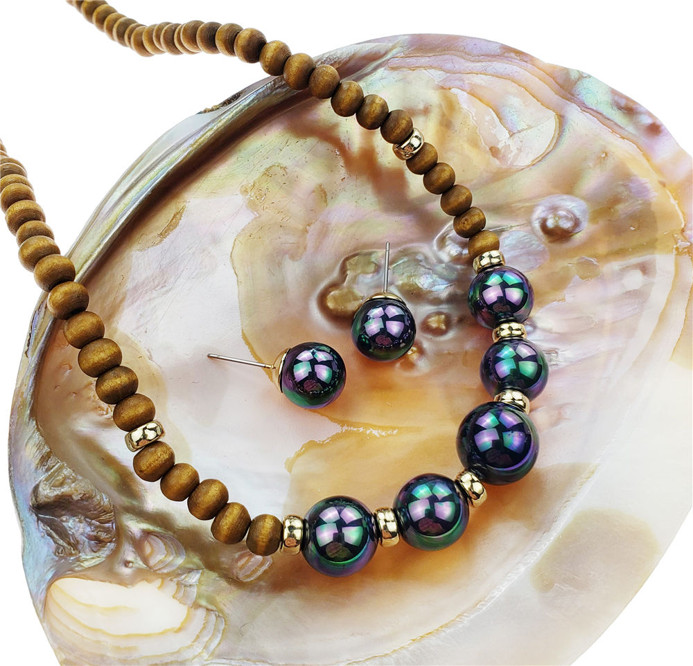 Hawaiian wood bead pearl set jewelry women wholesale