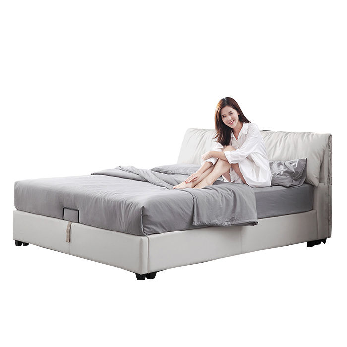NB01 Marco Amoreso modern bed room furniture bedroom set white leather queen size storage bed