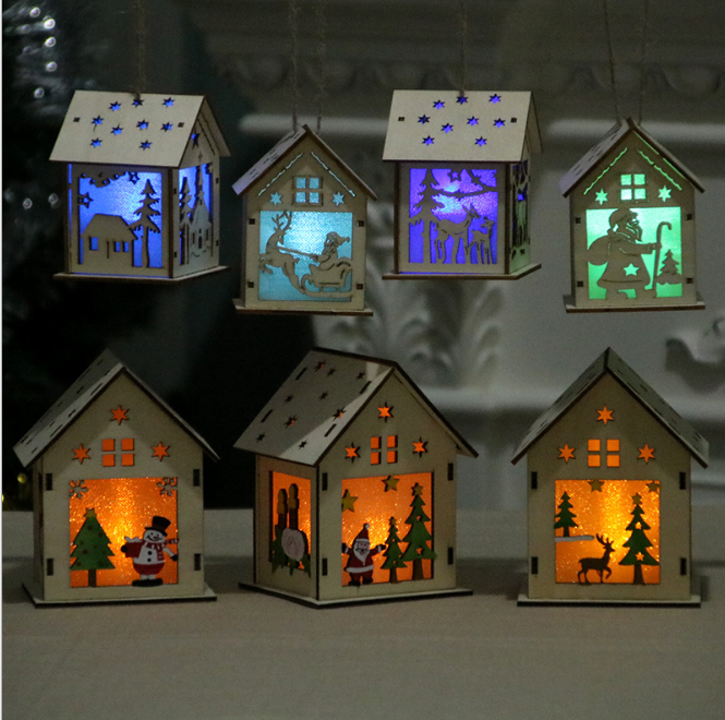 Christmas decorations luminous wooden house snow house hotel bar Christmas tree decoration ornaments DIY gift window decoration