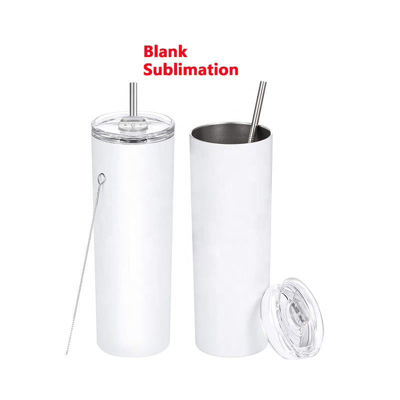 20oz 600ml sublimation blanks skinny tumbler double wall 18/8 stainless steel tumbler mug cup sublimation blanks with straw