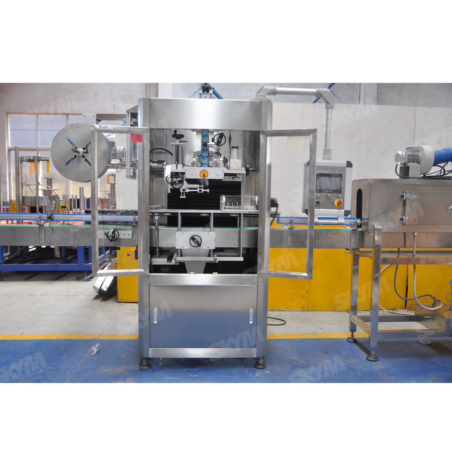 Shrink sleeve label machinery for 3 kind bottle