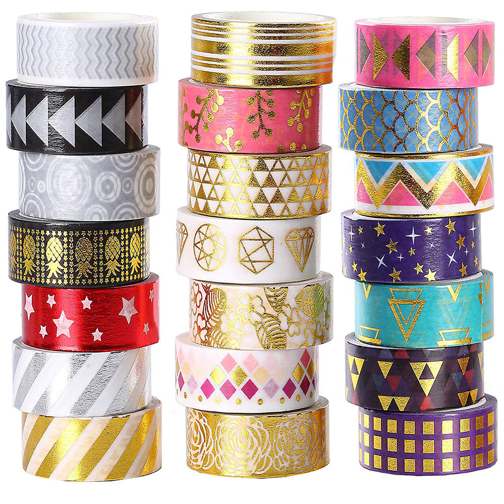 Custom Rolls Foil Washi Tape Manufacturer、15ミリメートルWide Gold Colored Metallic DIY Craft Washi Masking Tape