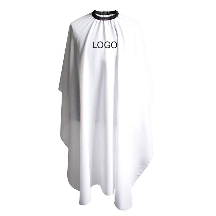 polyester barber shop apron white salon logo custom cutting cape