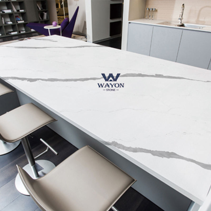2020 Calacatta Quartz Table Top For Carrara Artificial Marble Black Kitchen Countertops bar