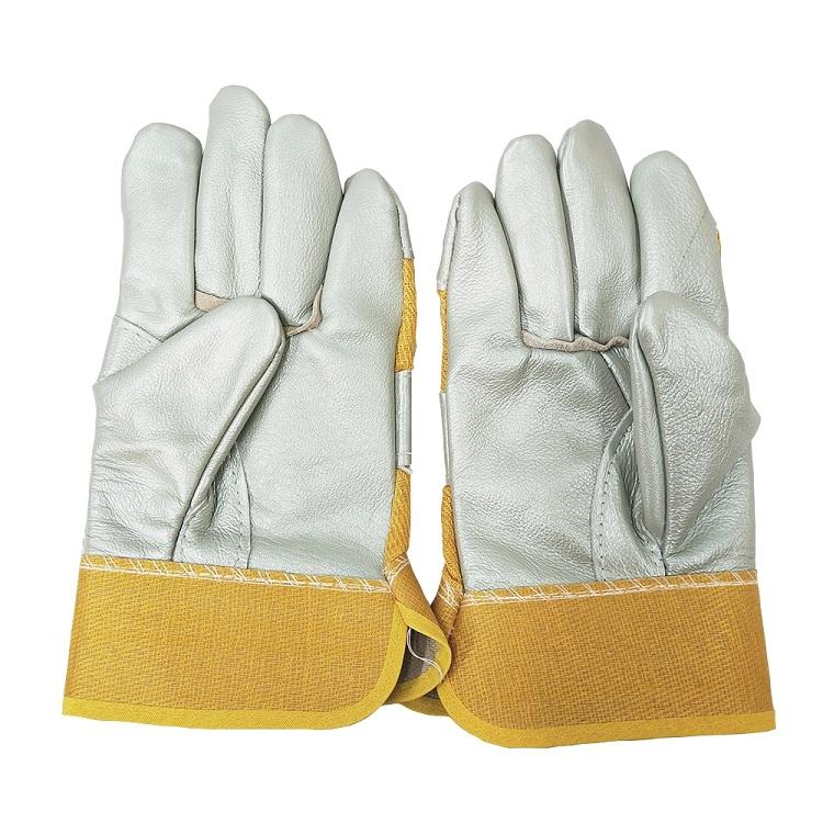Anti Heat Short Type Leather Reinforced Safty Gloves Yellow Welding Hand Gloves