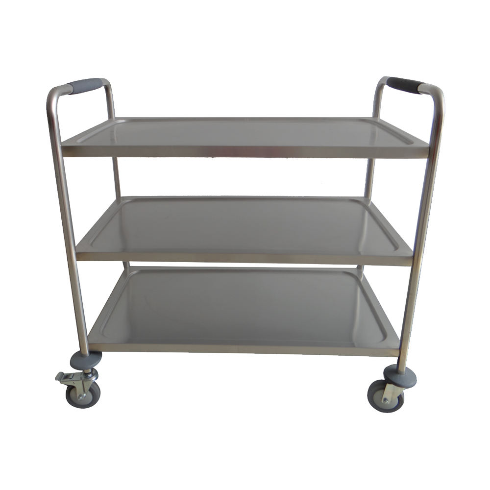 Good quality 3-tiers stainless steel kitchen food service trolley assembled three layer commercial trolley