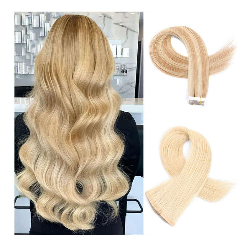 100% ponytail russian tape hair double drawn,remy invisible tape hair extension,skin weft tape in human hair extension