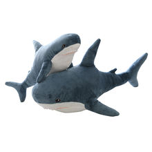 plush toys shark shaped pillow hot selling dark blue shark toy