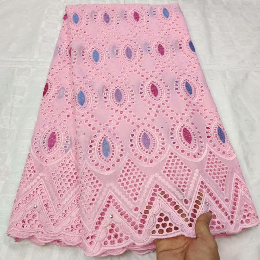 Lovely baby pink swiss lace 100% cotton dry lace wedding lace fabric with stones