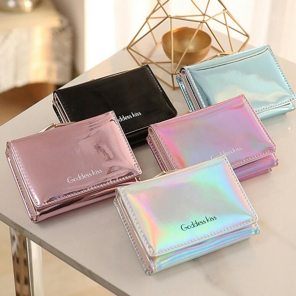 high quality holographic foldable Short Small Coin Purse laser pu women card holder wallet