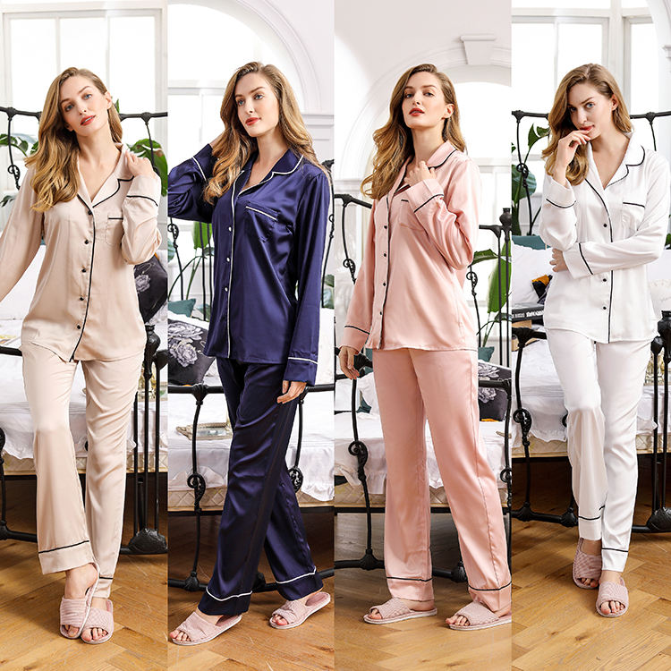 Factory Custom Wholesale Long sleeve Sleep Nightwear Contract Stripe Women 2Pieces Set Pajamas Sleepwear
