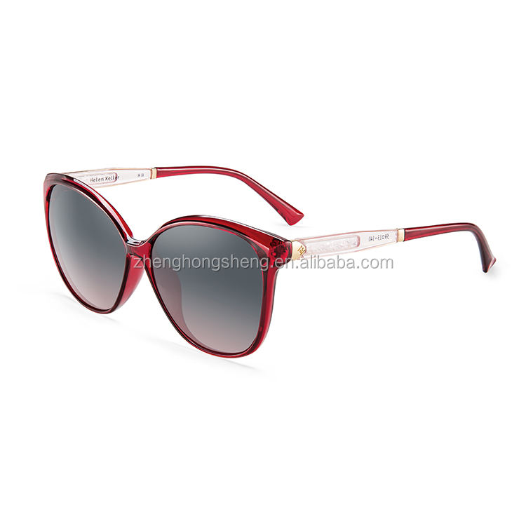 H8732P08 Fashion Cool Decorated Colored Tr90 Deep Wine Red Frame Tac Lens Glasses