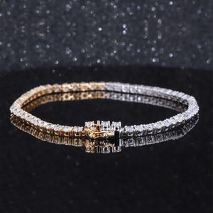 Fine Jewelry Classic 9K 14K 18K Gold 4mm round lab grown diamond tennis bracelet
