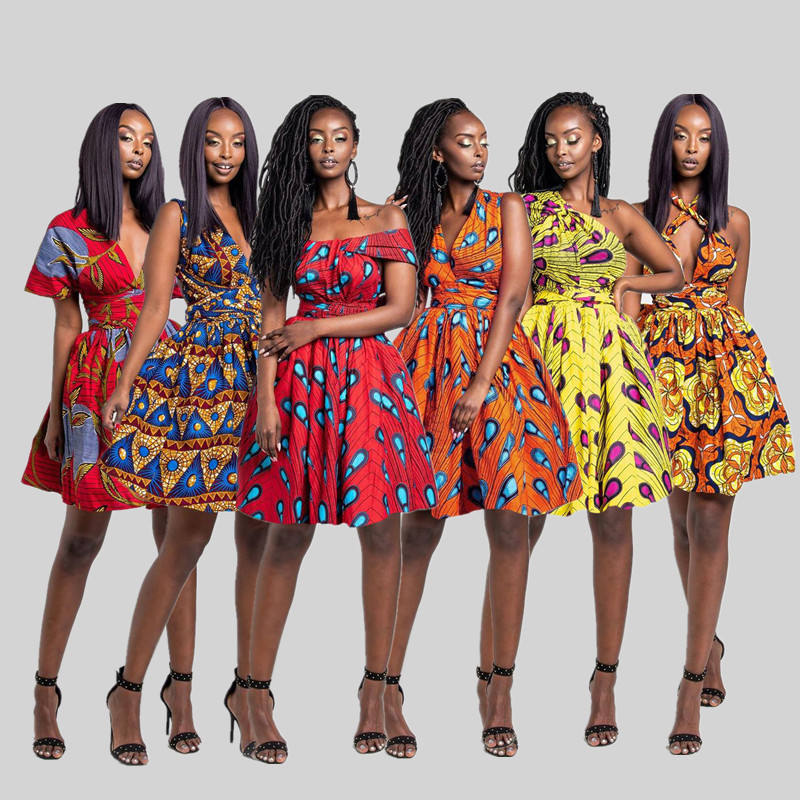 Hot Sale Wholesale African Styles Casual High Waist A-Line Mini Dress African Traditional Clothing Dashiki Dress