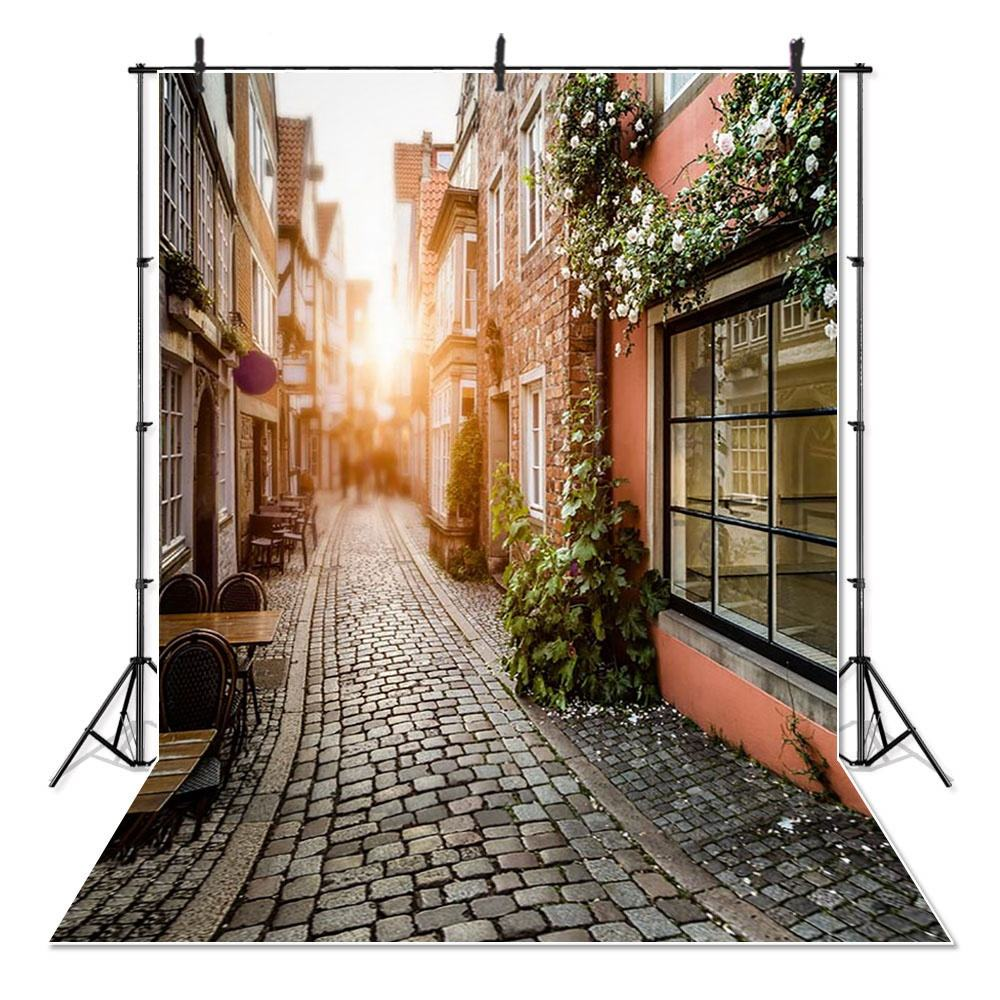 Street Road Family Photography Backdrops Attractive Town Outdoors Scenic Photo Studio Background