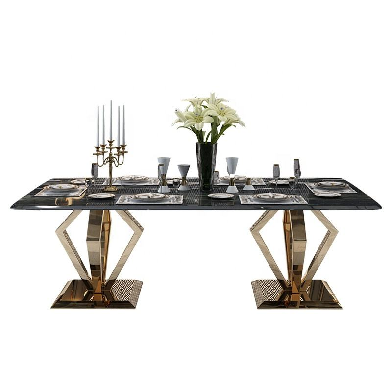 Dining table modern stainless steel table frame marble top for dining room