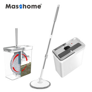 Masthome Stainless Steel Pole Handle Removable Spin dry magic wash Mop water Flat Cleaning Mop with Bucket