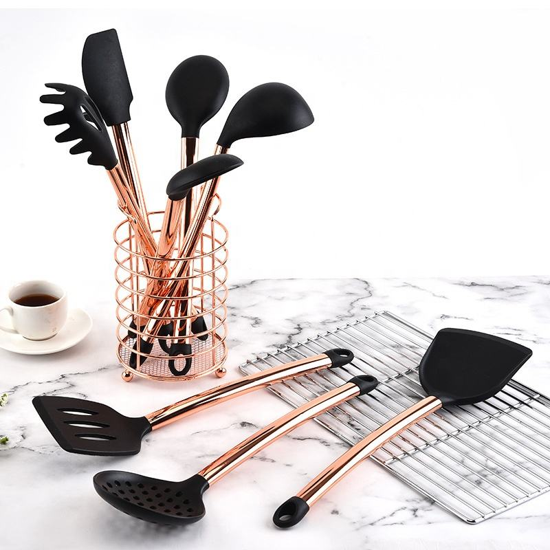 Hot sale 8 piece silicone cooking set kitchen utensils gold plated silicone cooking utensils kitchen utensil set