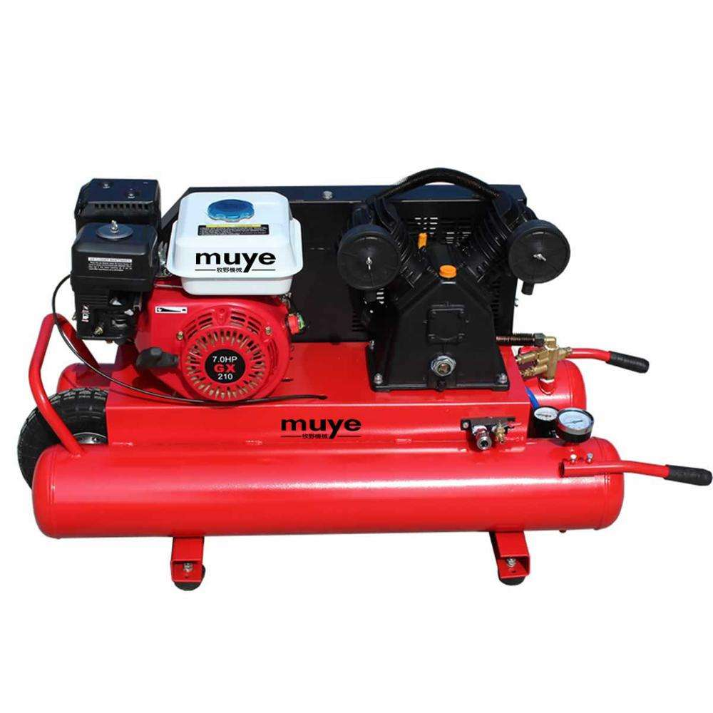 Middle One wheel air gasoline motor portable 3hp 4hp 5hp 6hp piston air compressor with gasoline engine