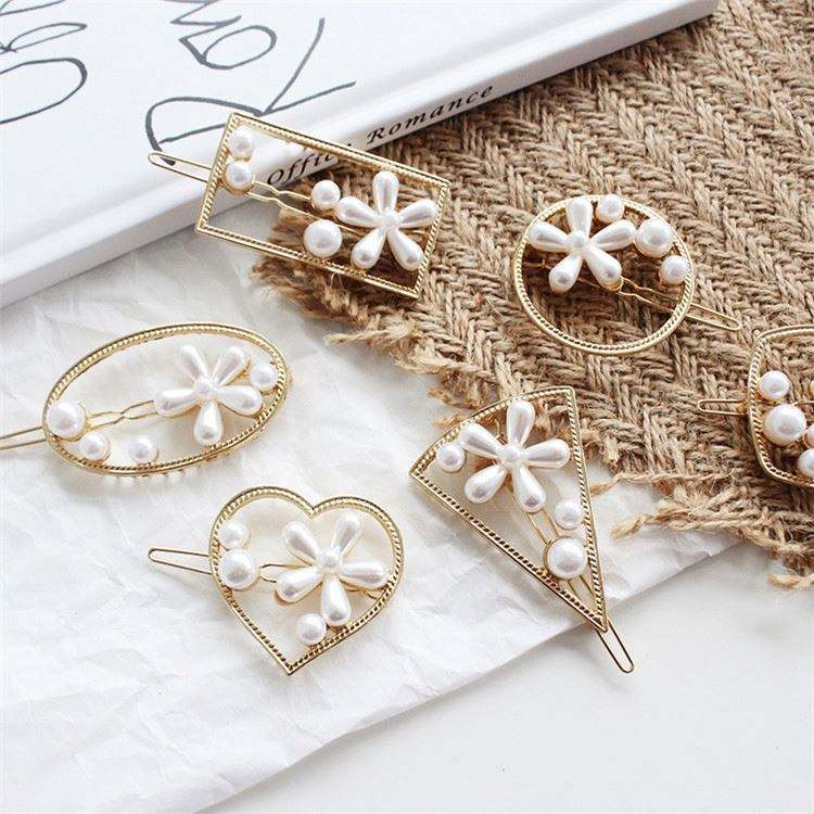 New Women Pearls Hair Clip Hair Accessories Romantic French Style Fashion Daisy Flower Metal Clips Barrette Hairpin