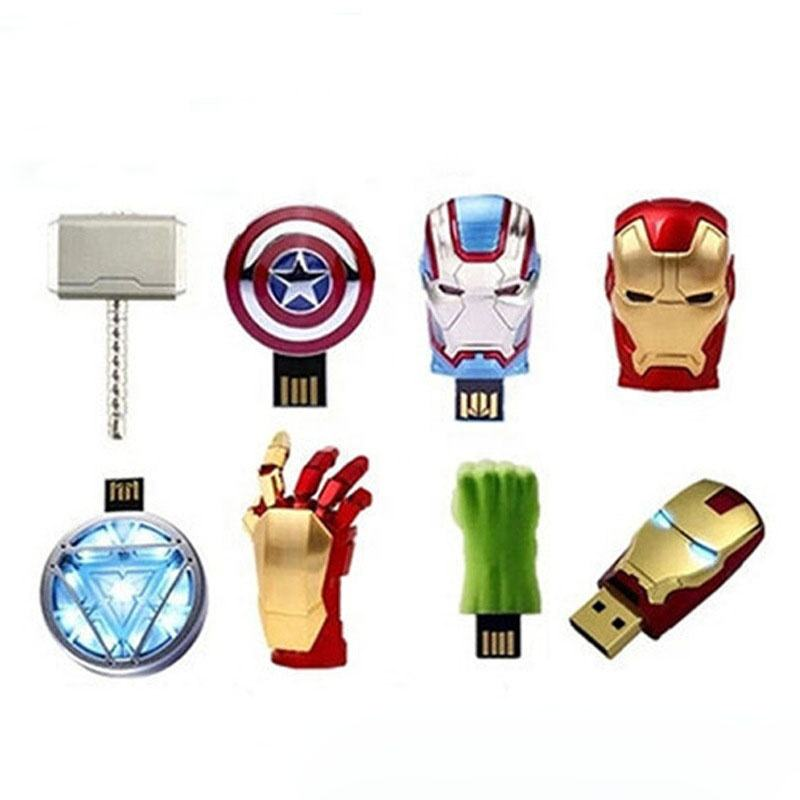 Novelty cartoon heros metal usb thumb drive push and pull flash memory stick