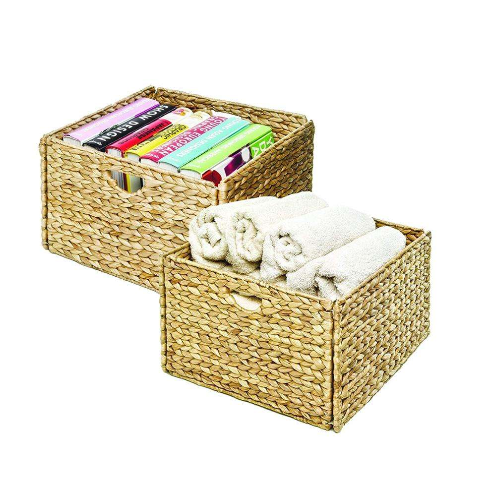 Promotional Storage Foldable Water Hyacinth Basket With Handle