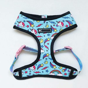 Hot Sell dog harness and leash Customized Pattern Adjustable Breathable Harness with Leash Collar Set neoprene dog harness