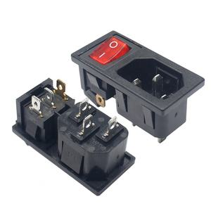 JEC 3 Pin iec320 C14 inlet connector plug power socket with red lamp rocker switch