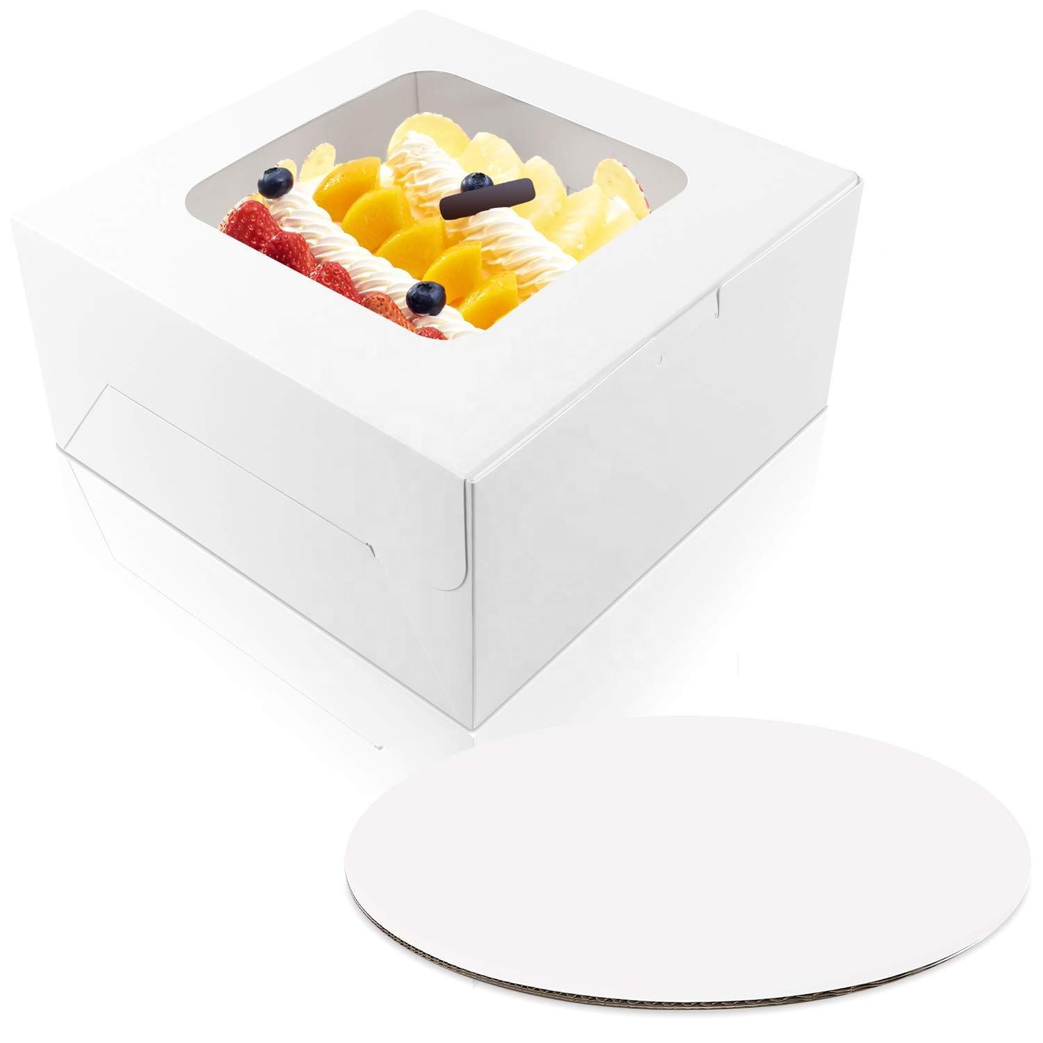 Cake Bakery Boxes with Window and 10 inches Round Cake Boards, gift Boxes for Cakes, Pastries, Cookies, Pie