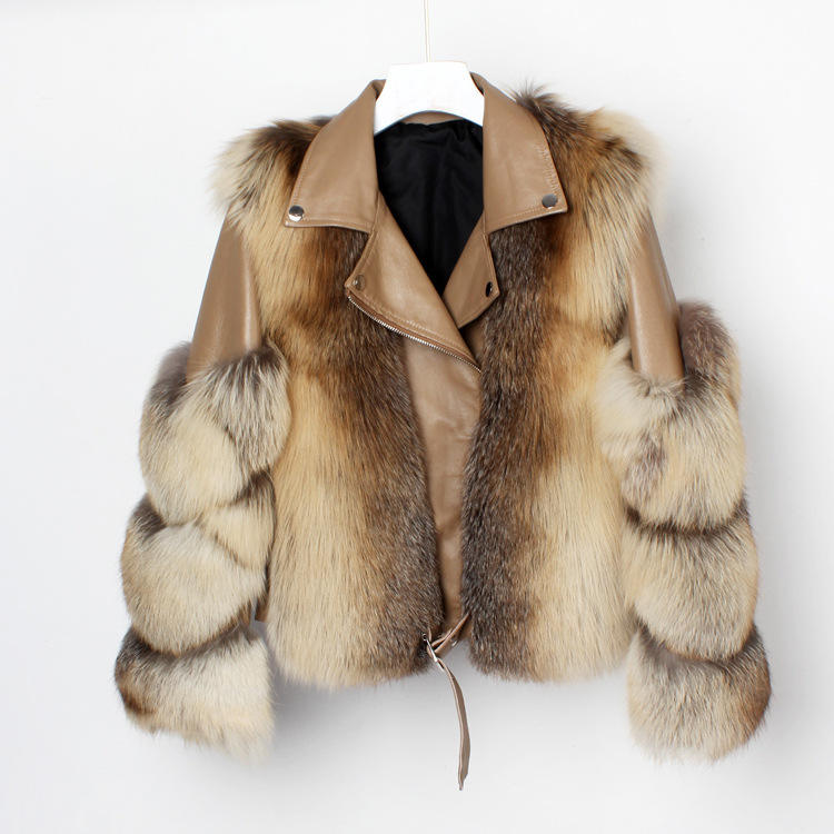 wholesale Women Leather bomber jackets real fox fur jacket