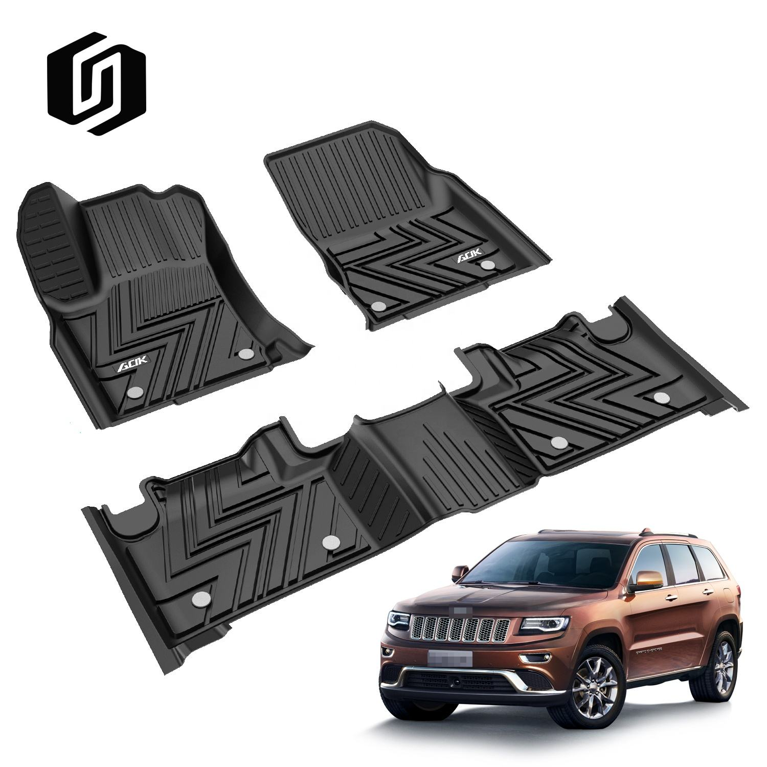 2020 New design 3D rubber molded interior car accessories car mats for GRAND CHEROKEE 2013+//