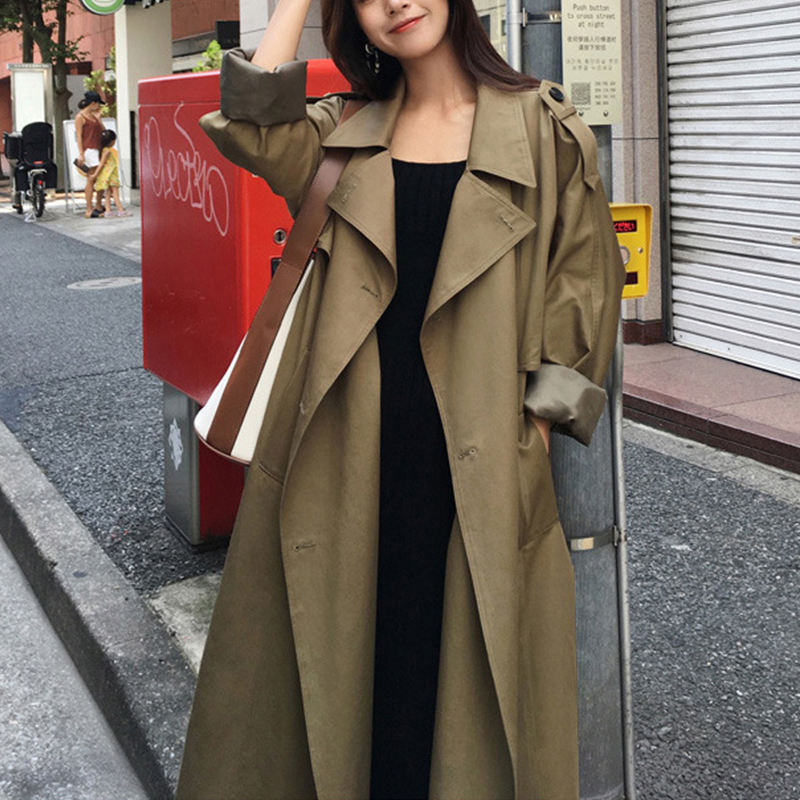 Good quality fashion ladies windproof jacket trench coat with belt oversized windbreaker spring coats long green trench coat