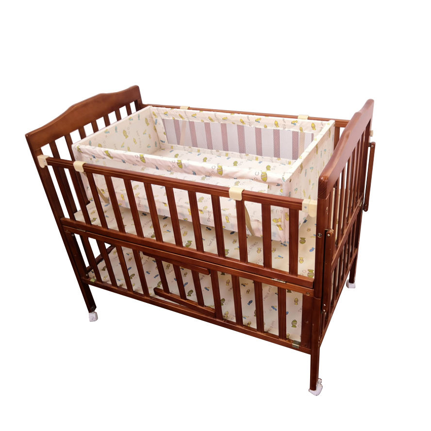 No Painted Hot Selling Solid Wooden Baby Cirb Cot Infant Bed With Netting