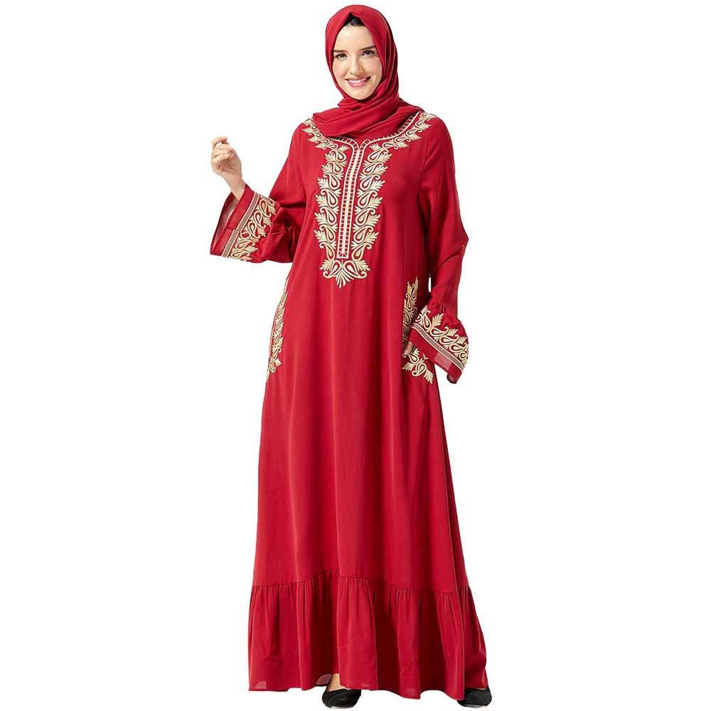 2021 premium fashion red muslim dresses moyen-orient dubai abaya egyptian islamic clothing for women