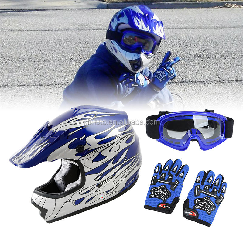 XF270206 DOT Youth Blue Flame Dirt Bike ATV BMX Motocross Helmet w S M L