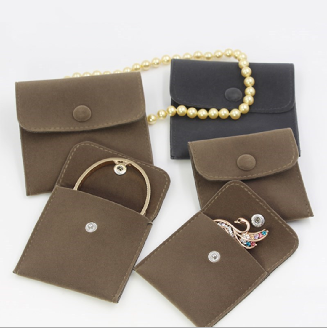 Foldable felt jewelry pouch jewellery packaging bags velvet button closure jewelry pouch brown envelope pouch